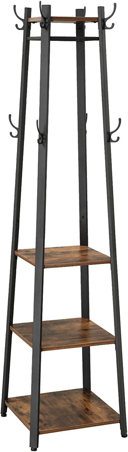 VASAGLE Coat Rack, Industrial Coat Stand with 3 Shelves, Ladder Shelf with Hooks and Clothes Rail, Metal Frame, Rustic Brown LCR80X