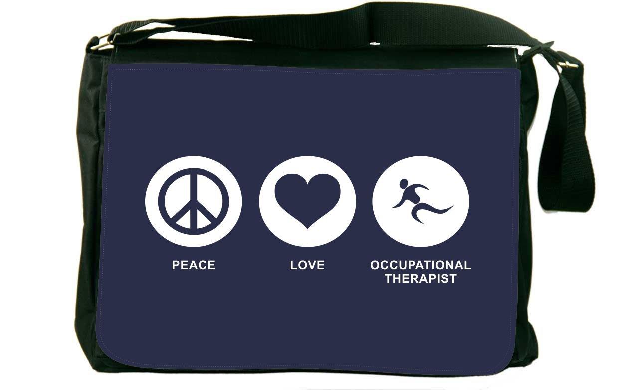 Rikki Knight Peace Love Occupational Therapist Blue Color Messenger Bag School Bag