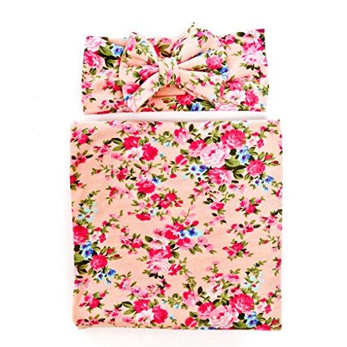 Ufraky Newborn Baby Cotton Flower Swaddling & Receiving Blanket and Hair Bow Headband Set (Pink)