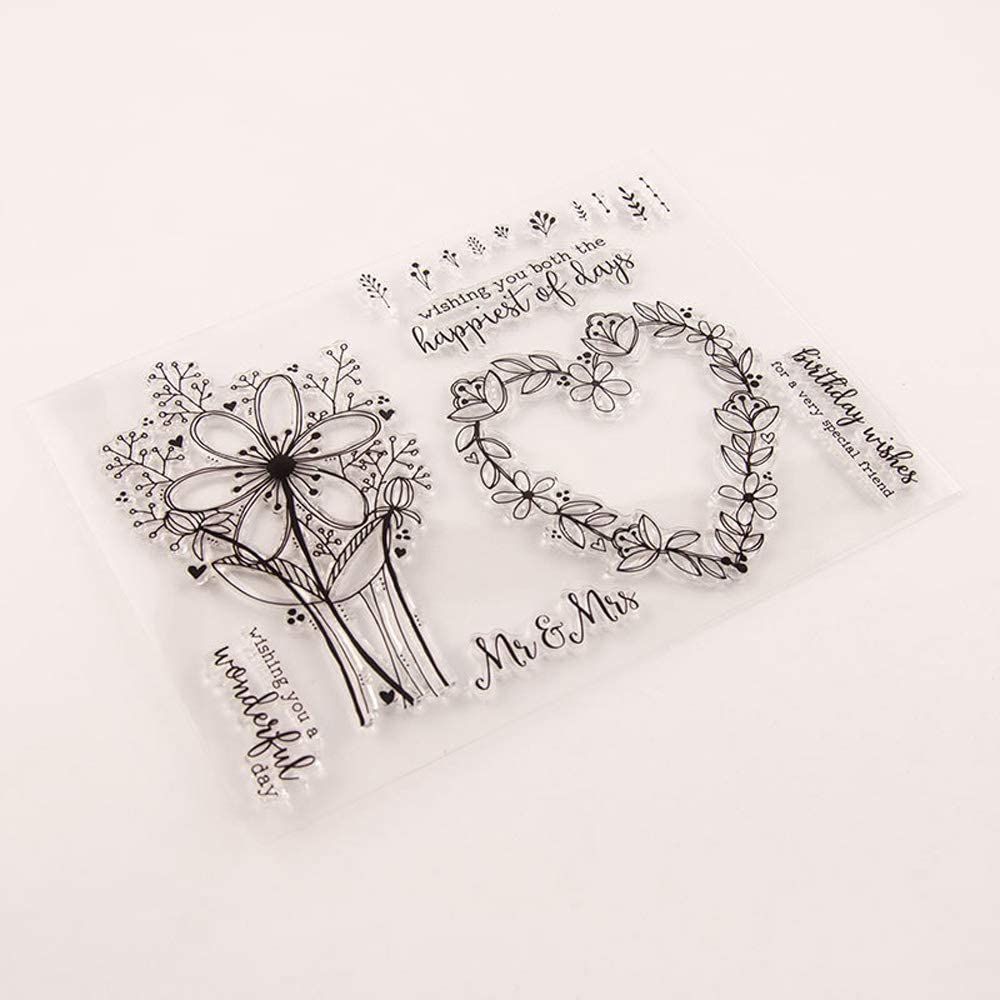 8.5 by 6.1 Inches Flower Leaves Enjoy Your Birthday Letters Clear Rubber Stamps for Scrapbooking Card Making Birthday Stamps