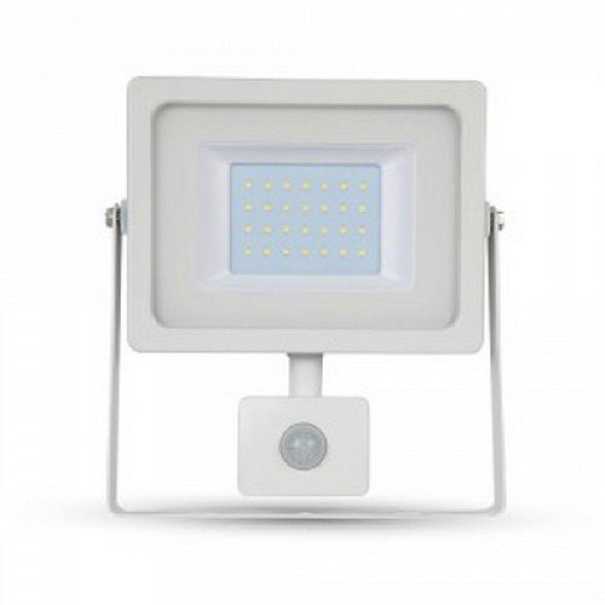 Faro LED 30 W 2550lm 100 ° V-TAC aluminio Ultra Fina Slim Blanco Sensor PIR + crepuscular IP44 vt-4933 - SKU 5824 blanco frío 6400 K: Amazon.es: Iluminación