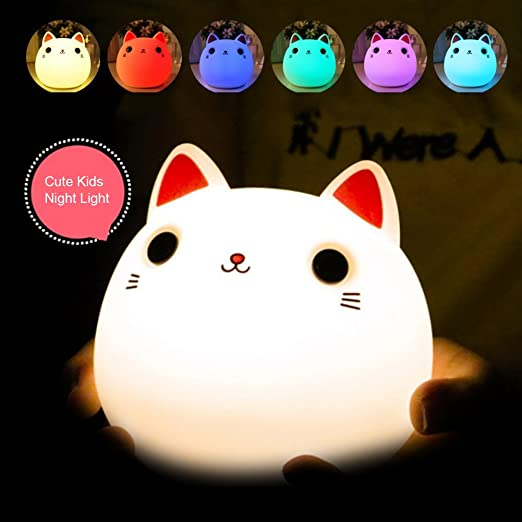 Golden Lampstands Creative Premium 7 Colors Cat Led Usb Children Animal Night Light Silicone Soft Cartoon Baby Nursery Lamp Breathing Led Night Light
