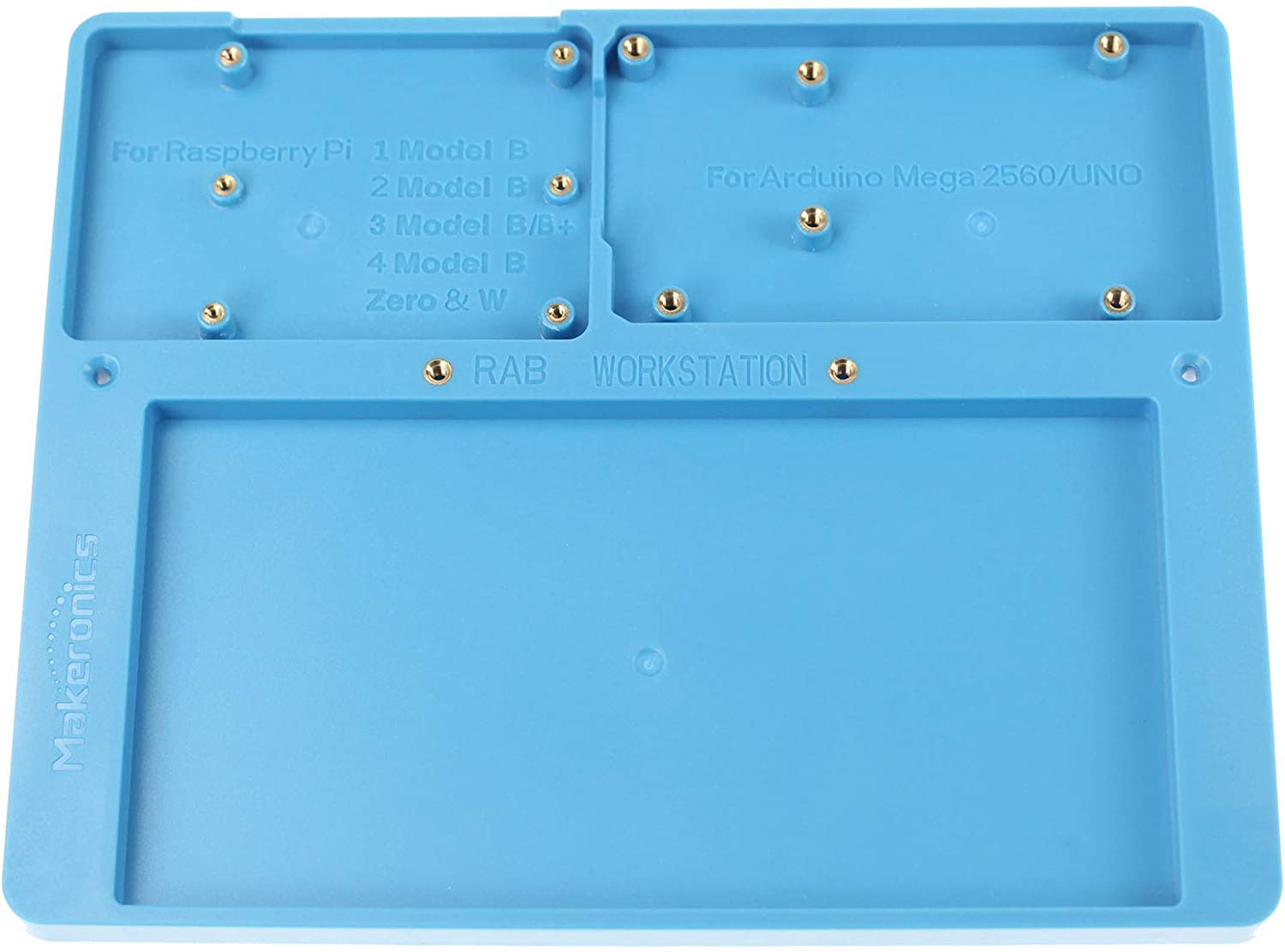 Makeronics 7 in 1 Blue RAB Holder for Raspberry Pi | Arduino | Solderless Breadboard, Base Plate with Rubber Feet for Raspberry Pi 4 Model B|3B+/B|2B+/B|Zero |Zero W and Arduino Mega 2560 | Uno R3