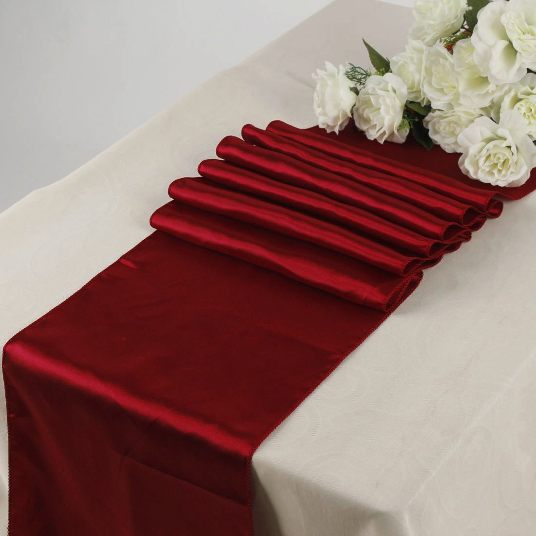 EnF Pack of 10 Satin Table Runner for Wedding Banquet Party Event Decoration SR26- Black Events n Fabrics