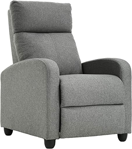 Fabric Single Sofa Recliner Chair Modern Reclining Seat Home Theater Seating