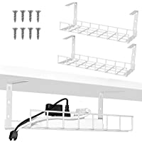 2 Packs Cable Management Tray, 40cm Under Desk Cable Organizer for Wire Management, Metal Wire Cable Tray for Desks…