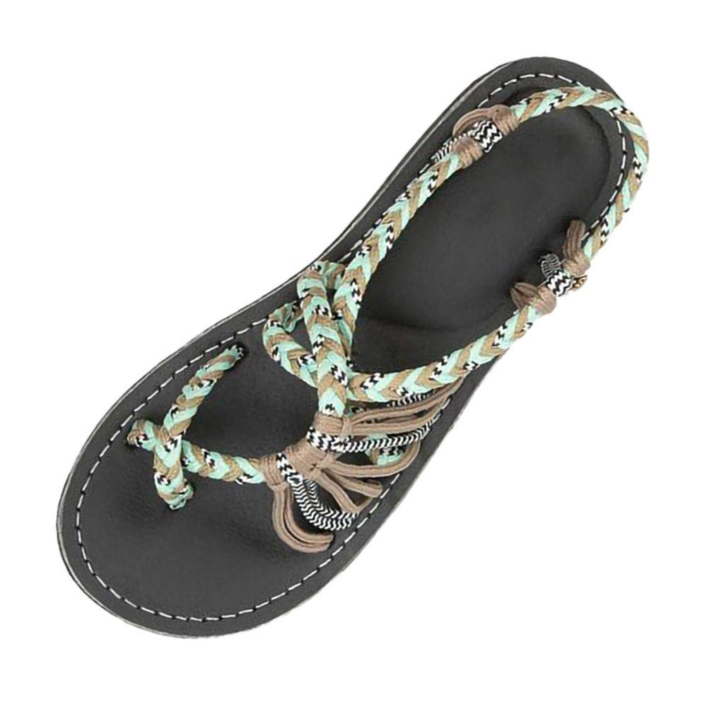 f05d16d18 Amazon.com  Women Woven Sandals Hemp Rope Flat Thong Sandals Casual Flip  Flops Sandals Summer Outdoor Romen Beach Shoes for Women   Girls  Kitchen    Dining