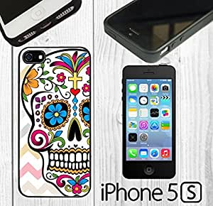 Day Of The Dead Pink Chevron Sugar Skull Custom made Case/Cover/Skin FOR iPhone 4s -Black- Rubber Case