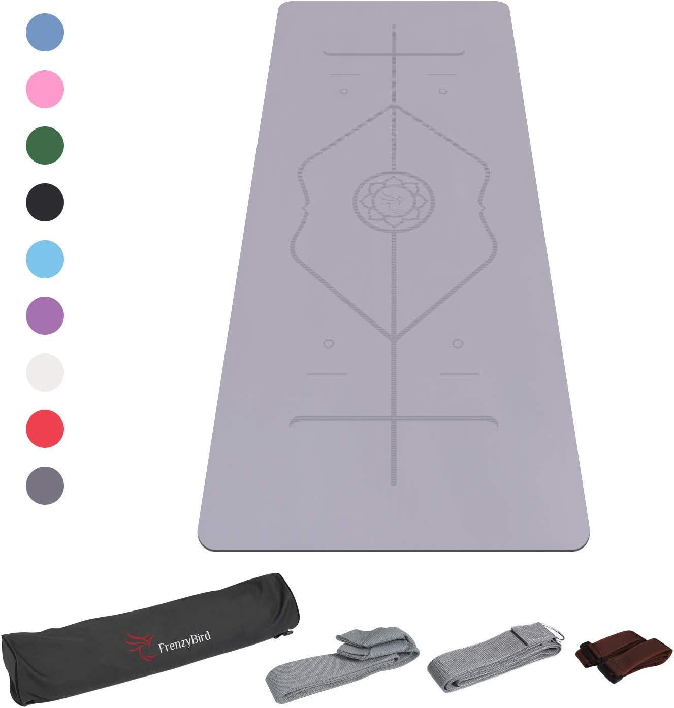 FrenzyBird 5mm Thick PU Rubber Yoga Mat with Body Alignment System,Oxford Mat Bag and Strap,Wet Absorbance,for All Types of Yoga and Pilates