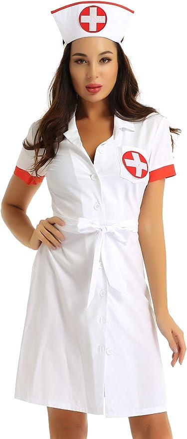 TiaoBug Disfraz Enfermera Bata Medico Mujer para Fiesta Halloween ...