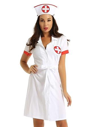 iixpin Disfraz Enfermera Mujer Sexy Uniforme 3Pcs Mini Vestido ...