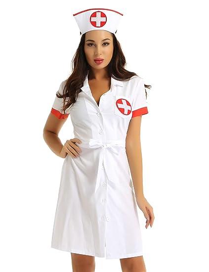 YOOJIA Mujer Sexy Disfraz Enfermera Atractiva 2Pcs Vestido ...