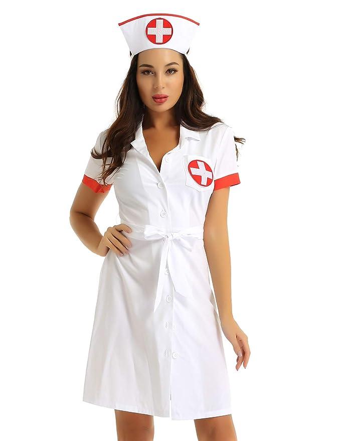TiaoBug Disfraz Enfermera Bata Medico Mujer para Fiesta ...