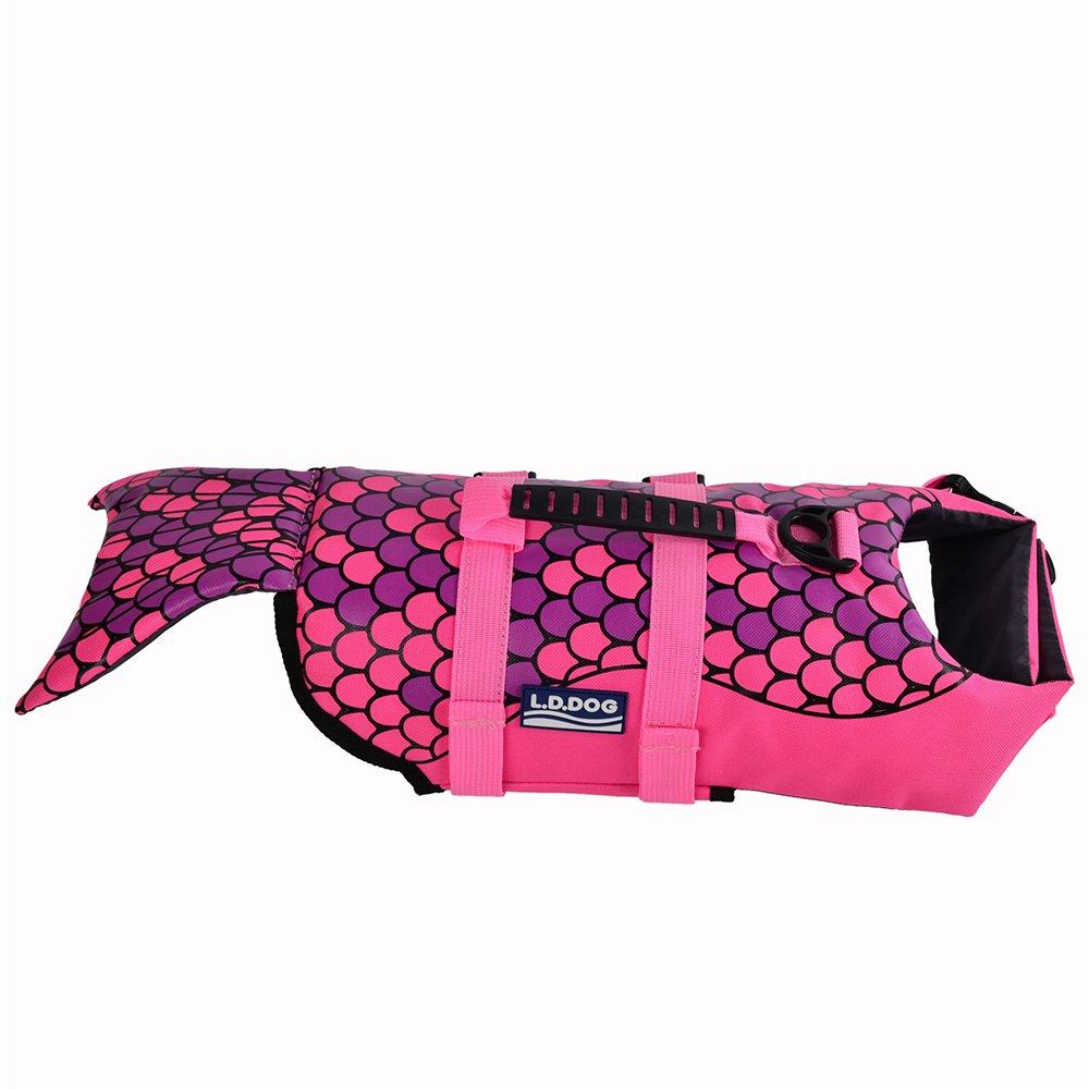 URIJK Dog Life Jacket Mermaid & Shark Style Floatation Vest Pet Adjustable Saver Safety Swimsuit Preserver for Small Medium Large Breeds Dogs