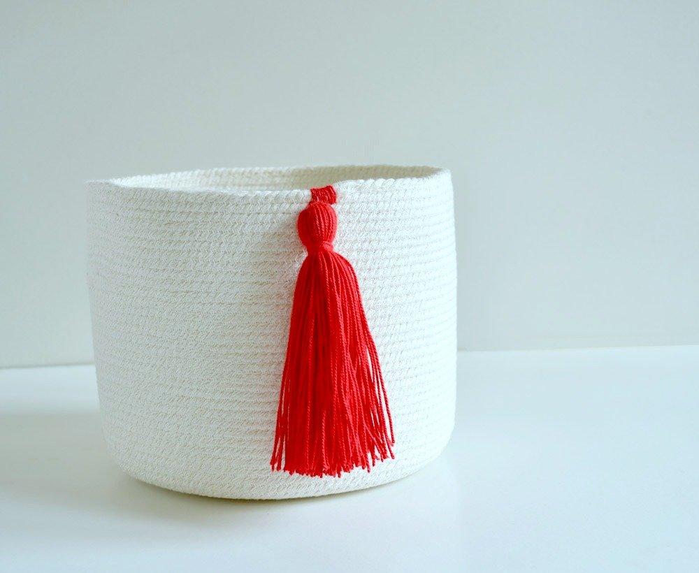 Cesto de cuerda de algodón con borla roja: Amazon.es: Handmade