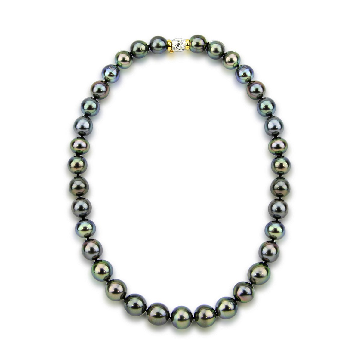 11-13mm Black Tahitian Cultured Pearl Necklace 17.5?AAA Quality with 14K Yellow and White Gold Clasp