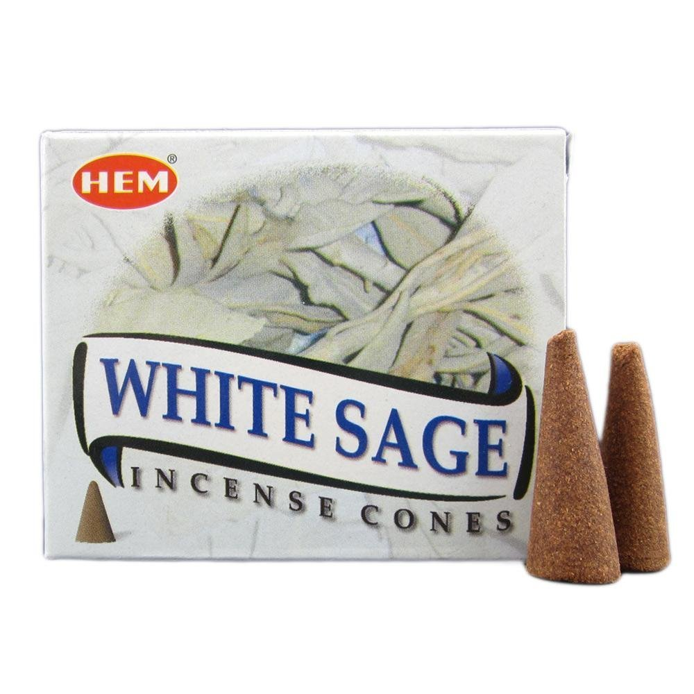 Hem Incense Cones – White Sage or White Sage Cones – box of 10 – FREE SHIPPING Ilhorin