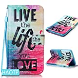 iPhone 7 Plus Case,HAOTP(TM) Beauty Luxury Fashion PU Flip Stand Credit Card ID Holders Wallet Leather Case Cover for iPhone 7 Plus (Live The Life You Love)