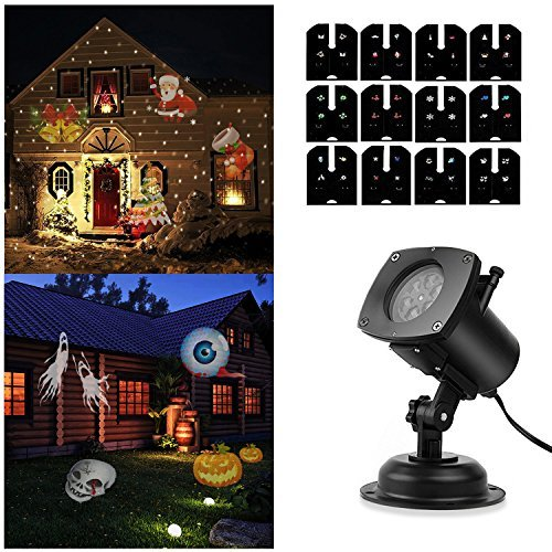 SOLLED Projection Lights Rotating LED Projector Lamp 12 Patterns Pumpkin/Ghost/Heart/Snowflake Replaceable Lens Projector Night Light Halloween/Christmas/Easter Lighting Birthday Wedding Decoration