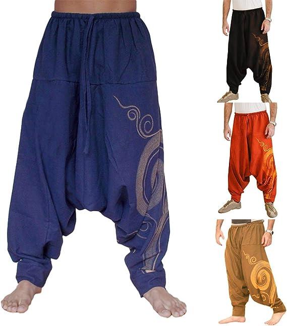 Balakie Mens Summer Pants Plus Size Harem Baggy Comfortable Wide-Legged Capri Pants