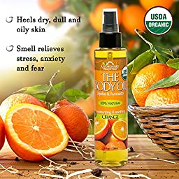 US Organic Body Oil - Fresh Orange - Jojoba and Avocado Oil with Vitamin E, USDA Certified Organic, No Alcohol, Paraben, Artificial Detergents, Color or Synthetic perfumes, 5 Fl.oz.