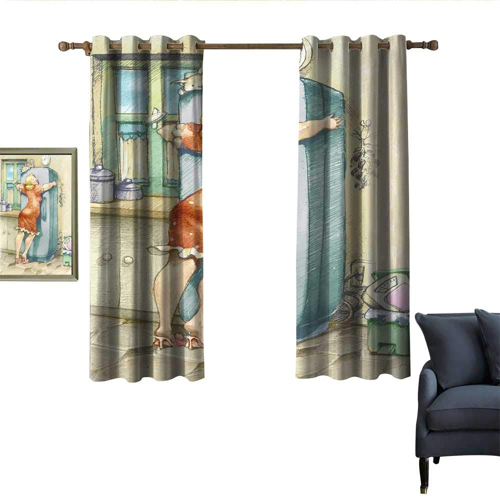 """longbuyer Funny Thermal Curtains A Plump Woman Embracing The Fridge with Passion Stress Eating Diet Calories Theme Privacy Protection 63"""" Wx72 L Multicolor"""