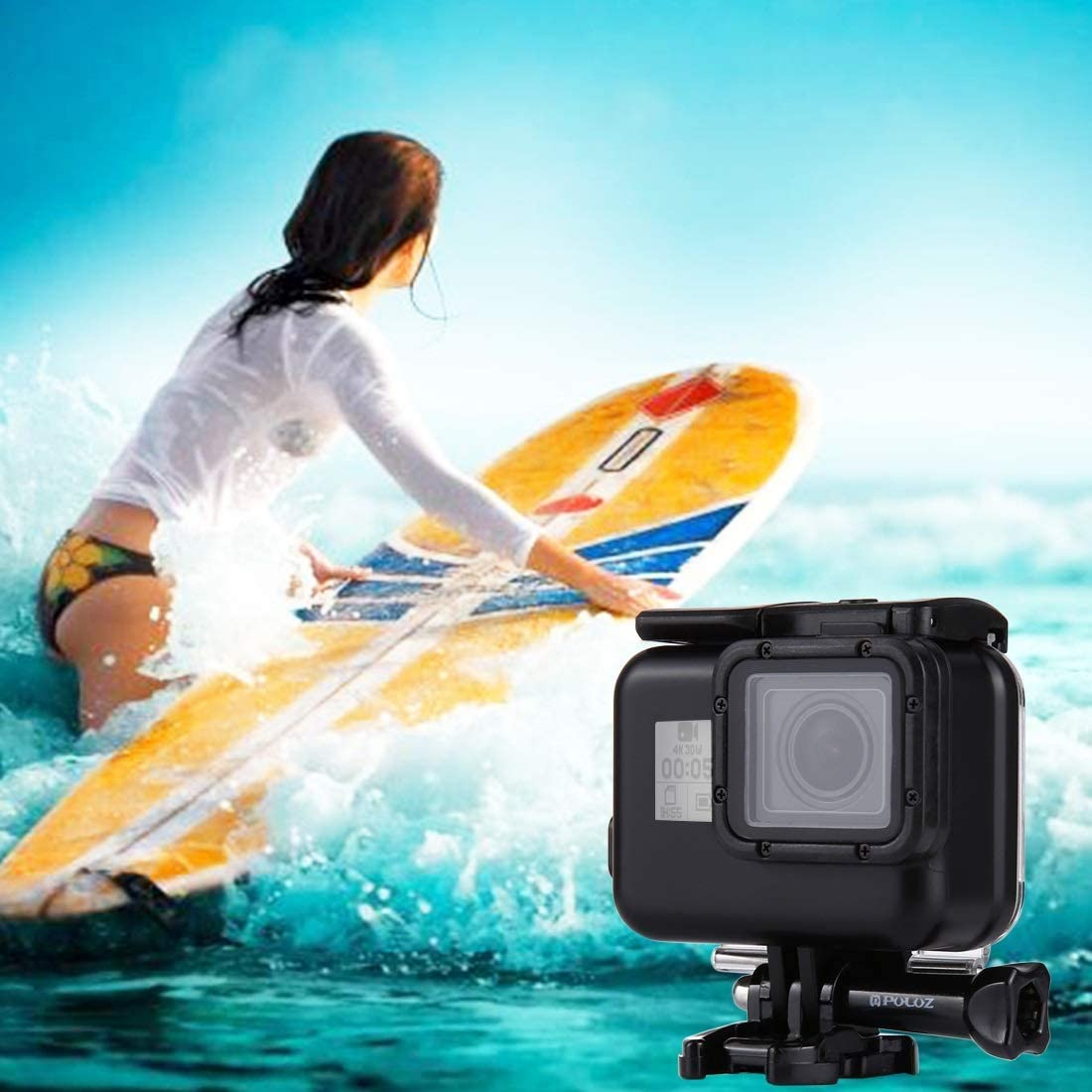 Color : Color2 2018 with Buckle Basic Mount /& Screw VKeyueDa 60m Waterproof Housing Protective Case for for GoPro Hero // HERO7 Black //6//5 No Need to Remove Lens VKeyueDa