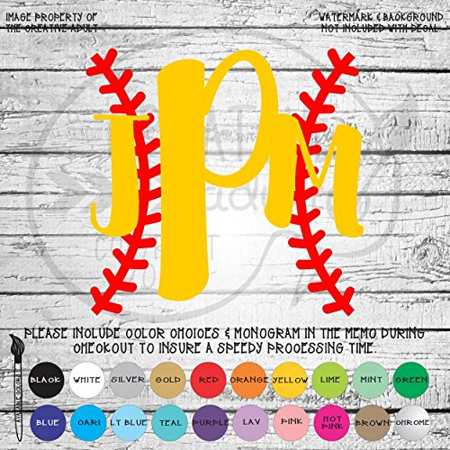 Baseball Laces Monogram Vinyl Die Cut Decal Sticker for Car Laptop etc. MGM367 -