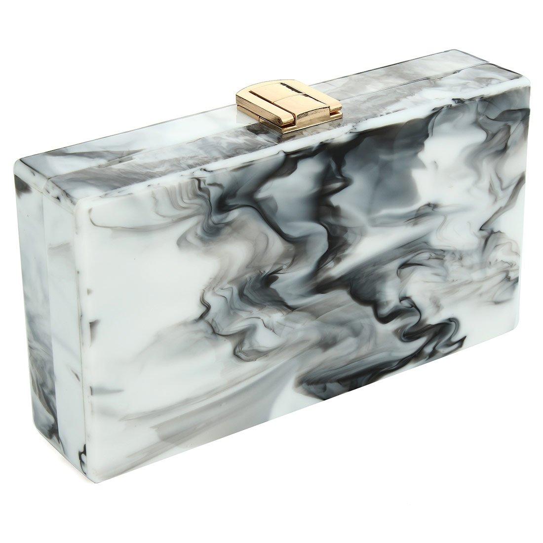 Women Acrylic Clutch Purse Perspex Box Handbags for Women Marble Pattern Desiger