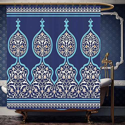 Wanranhome Custom-made shower curtain Moroccan Bohemian Style Old Middle Eastern Turkish Figures Mystical Ornamental Image Printwith Hooks Royal Blue For Bathroom Decoration 72 x 96 - Origin Of The Kraken