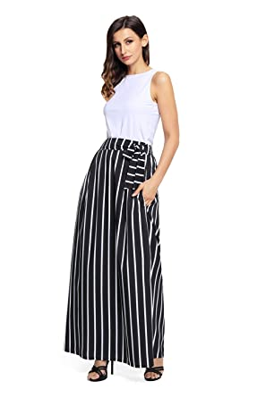 f272f53b34 Women's Summer Waisted Maxi Skirt Vertical Striped Long Skirts With Pocket  (Small, Black)