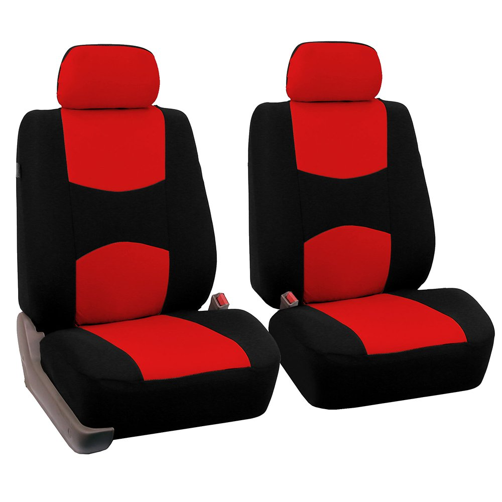 FH-FB050102, Fit Most Car, Truck, SUV, or Van Gray//Black FH Group FB050GRAY102-A Universal Fit Flat Cloth Pair Bucket Seat Cover,