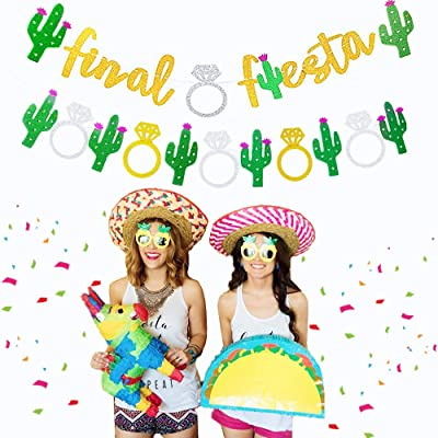 Set of 2 JeVenis Glittery Final Fiesta Banner Bachelorette Party Garland Last Ole Banner Bridal Shower Banner Hen Party Supplies for Mexico Cabo Bachelorette Theme Cactus Decor: Toys & Games