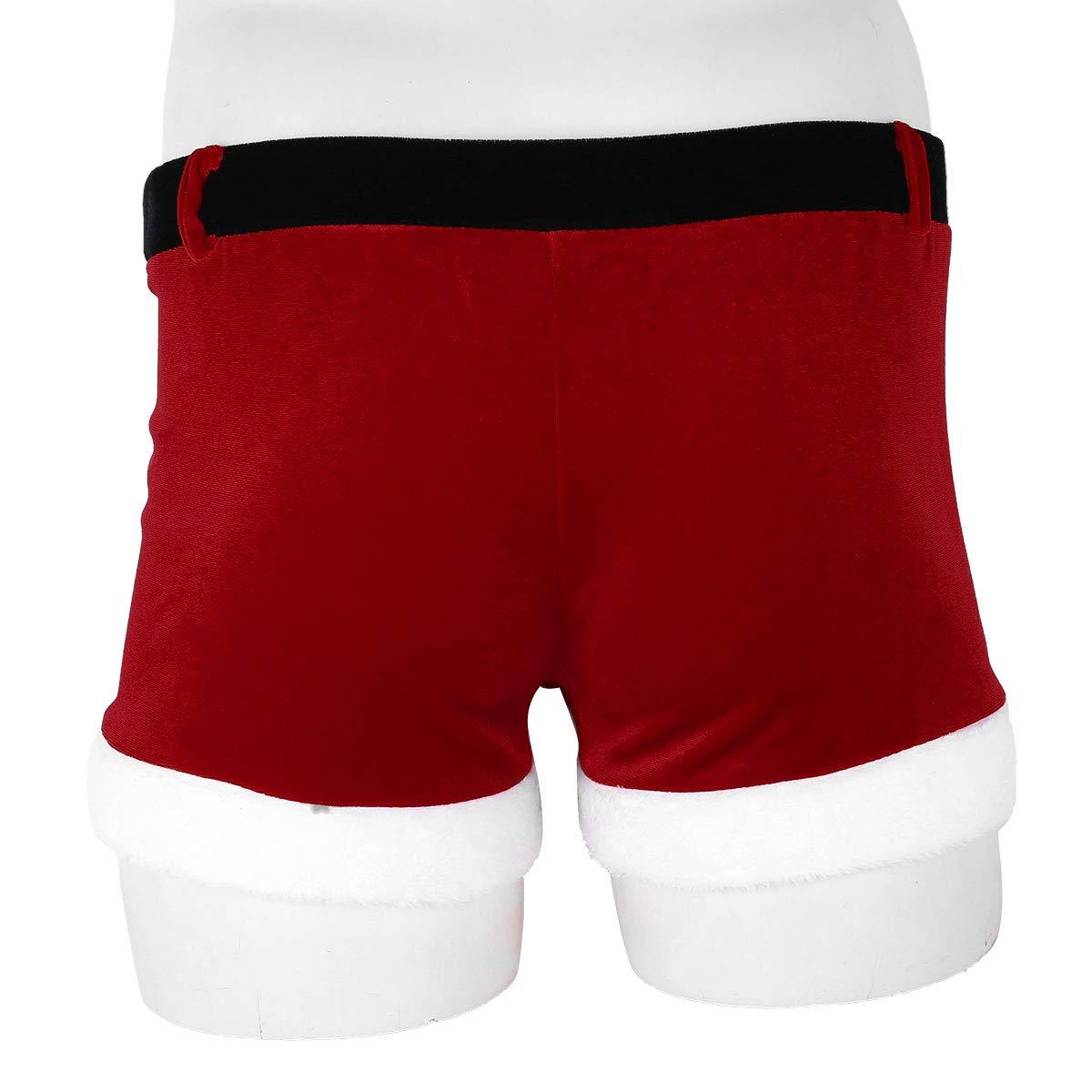 iEFiEL Christmas Holiday Mens Boxer Shorts Velvet Christmas Santa Claus Boxers Trunks Underwear