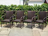 Patio Resin Outdoor Garden Deck Wicker Arm Chair. Dark Brown Color (Set of 4)