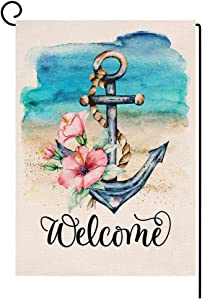 BLKWHT Summer Beach Garden Flag Vertical Double Sided Watercolor Anchor Welcome Flower Burlap Yard Outdoor Decor 12.5 x 18 Inches A2122