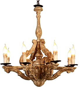 KunMai Retro Rustic French Country Carved Wood 8-Light Distressed Candle-Style Chandelier Pendant Fixture