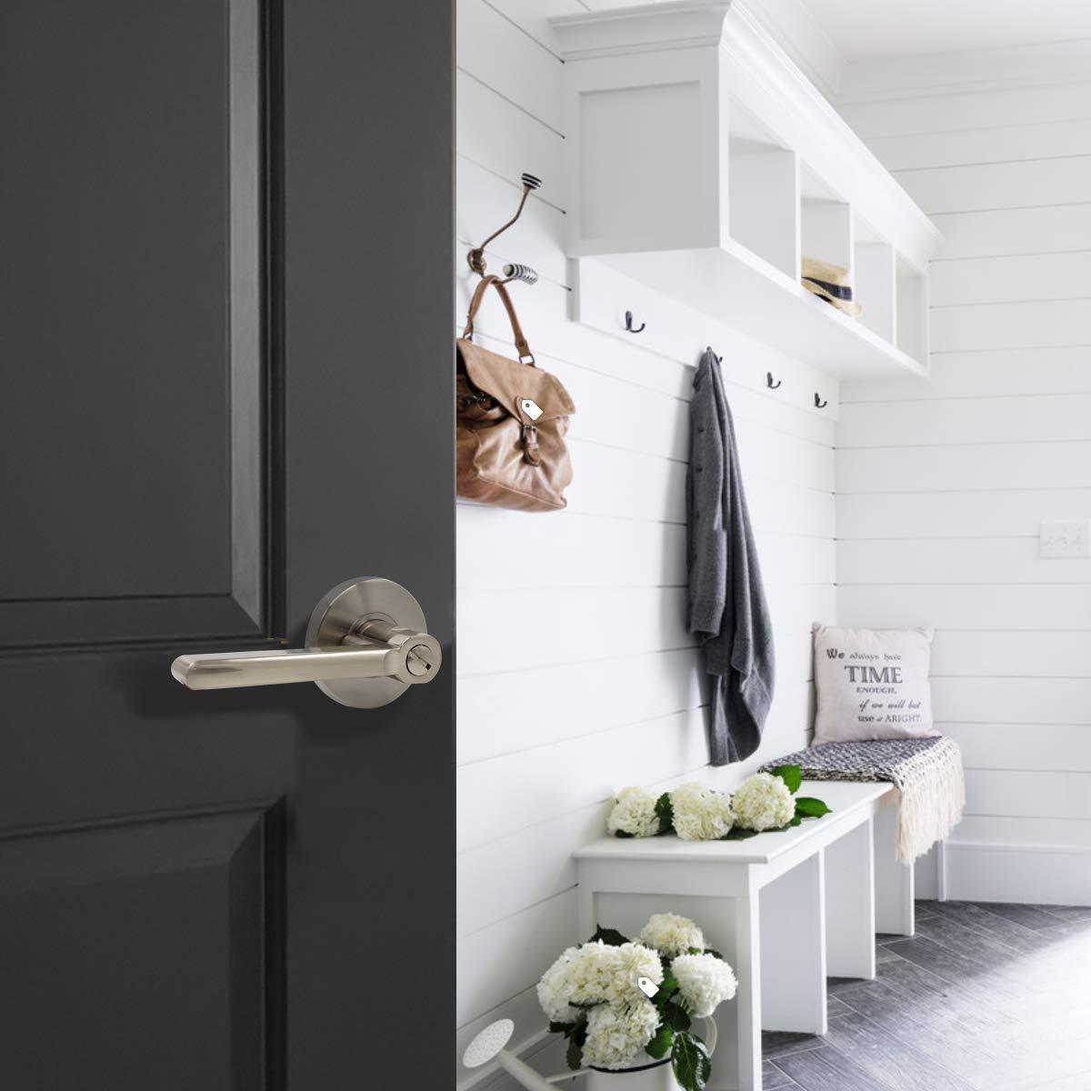 Probrico Bed/Bath Room Door Lever Modern Flat Handles in Satin Nickel, Privacy Door Lever Locks, Contractor Pack(10Pack) by Probrico (Image #8)