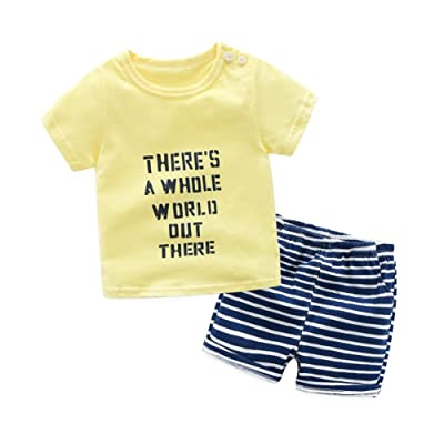Baywell Baby Boy Girl Outfits Clothes Set, Toddler Cute Cartoon Pictures Letter Printer T-Shirt + Pant