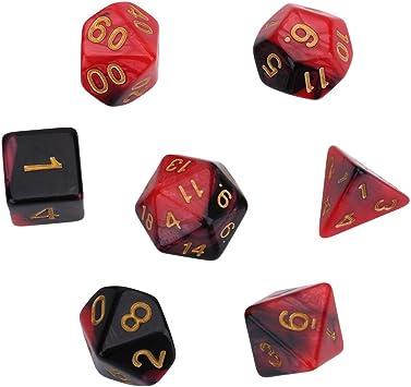 DEWIN 7 Piezas de Forma Irregular Dados poliédricos Coloridos Juegos de Mesa Juegos de rol D&D Dados Conjunto(Rojo): Amazon.es: Juguetes y juegos