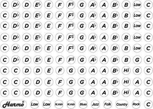 Ultimate Harmonica Key Label stickers 137 by Harmo