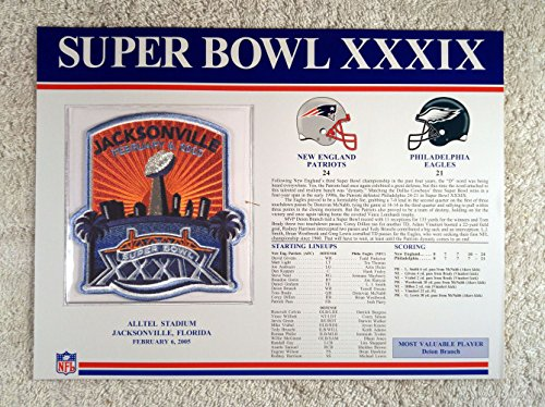 Super Bowl XXXIX (2005) - Official NFL Super Bowl Patch with complete Statistics Card - New England Patriots vs Philadelphia Eagles - Deion Branch - 21 Super Mvp Bowl