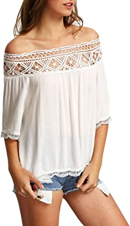 Minetom Blusa Camiseta Casual Elegante Hueco Cuello Campesino ...