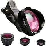 iPhone Lens,180° Fisheye Lens+15X Macro lens+0.65X 100°Wide Angle Lens+3X Telephoto Phone Camera Lens Kit with Clips for iPhone 7/6/6 Plus/6S/6S/6s Plus Samsung S6/S7 Edge