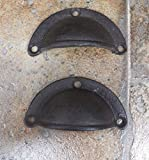 Drawer Pull Handle Knob 3'' Cast Iron Lot Set of 2 Antique Vintage Rustic Style