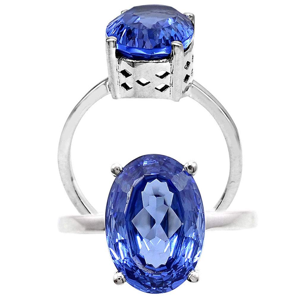 NYSS INS. Tanzanite Oval 10x14 MM Shape 925 Sterling Silver Ring Size 7-9
