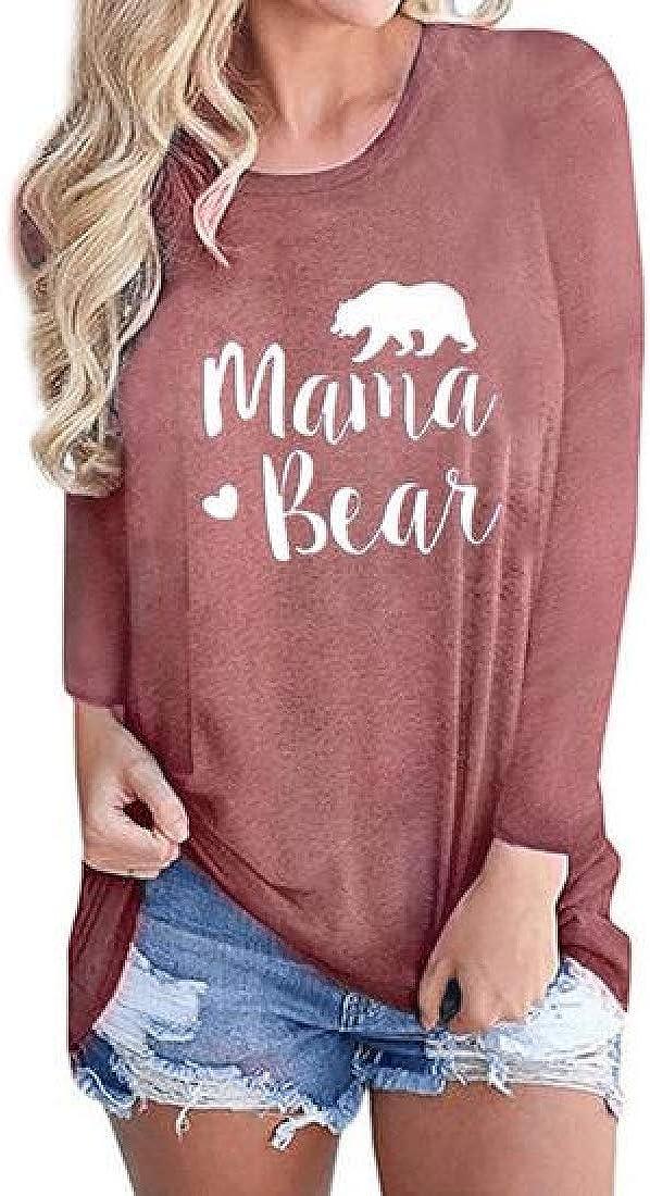 Jotebriyo Womens T-Shirt Plus Size Mama Bear Print Long Sleeve Loose Fit Comfy Blouse Top