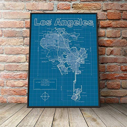 Los Angeles, California Map - Blueprint Style