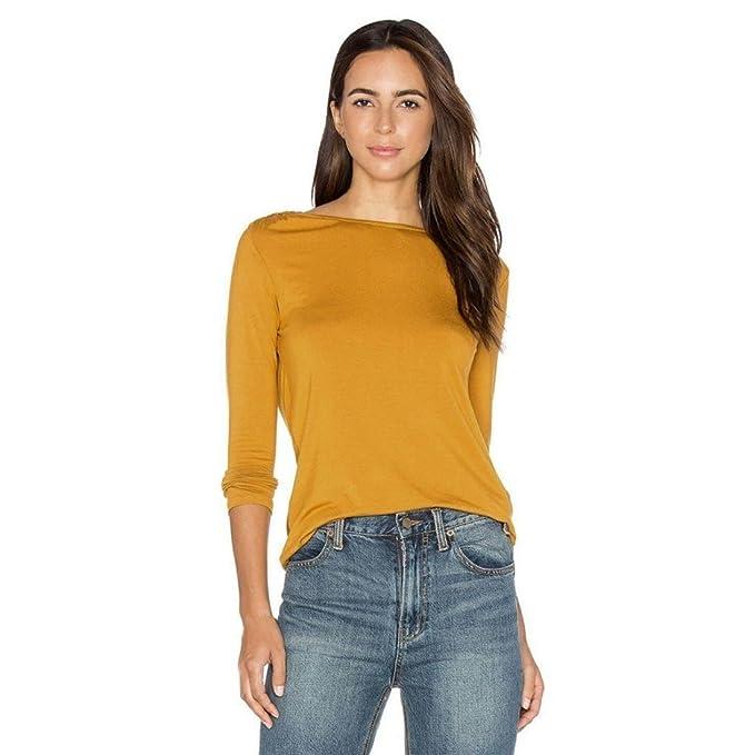 Tongshi Sin espalda moda mujer Casual manga larga encaje camisa blusa T (EU 36 (