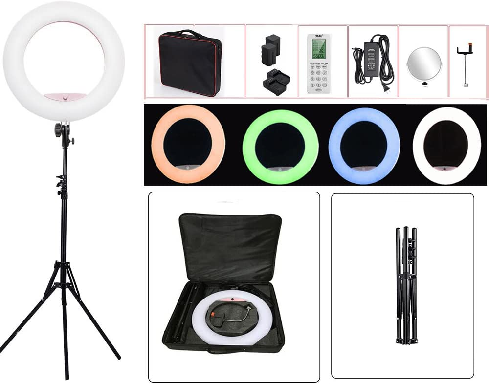 Ring Light with Stand for ipad and Remote Control 18'' Make up Bi-Color 3000K-5800K CRI≥97 & TLCI ≥99 with for Tiktok YouTube, Facebook Live,Self-Portrait and Blogging